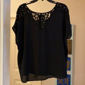 NWT Gianni Bini Black top with lace trim Size Med